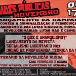 """""""Contra a Criminalização e Perseguição do Anarquismo, das Lutas Sindicais, Populares e Revolucionárias: LUTAR NÃO É CRIME!"""""""